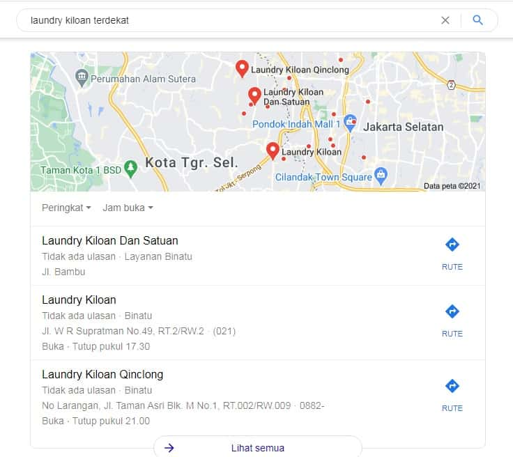 hasil pencarian google untuk laundry kiloan terdekat